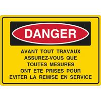 Panneau danger avant travaux assurez vous
