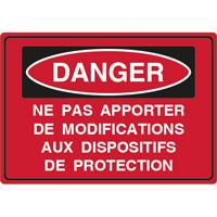 Panneau danger ne pas apporter de modifications