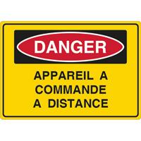 Panneau danger appareil à commande à distance