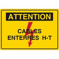 Panneau attention câbles enterrés H.T.