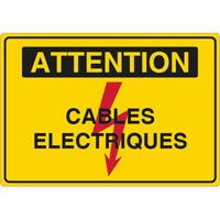 Panneau attention câbles électriques