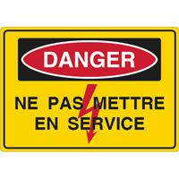Panneau danger ne pas mettre en service