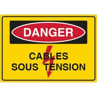 Panneau danger travaux câbles sous tension