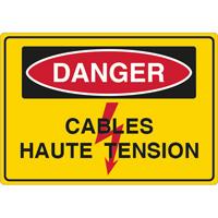 Panneau danger câble haute tension
