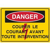 Panneau danger couper le courant avant toute intervention