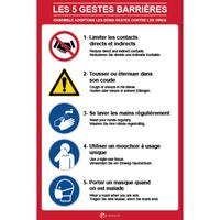 Panneau consignes les 5 gestes barrières