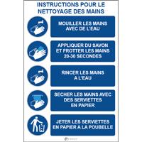 Panneau consignes instructions pour le nettoyage des mains