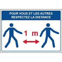 Panneau respectez la distance d'un mètre