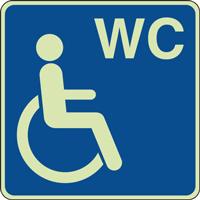 Panneau photoluminescent handicapé WC