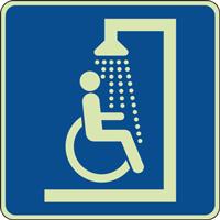 Panneau photoluminescent douche handicapé