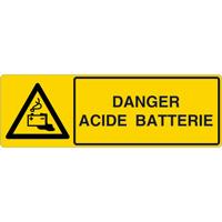 Panneau horizontal danger acide batterie