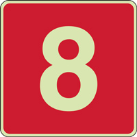 Panneau chiffre 8 rouge photoluminescent