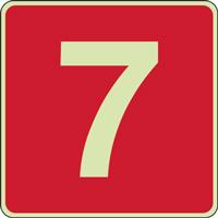 Panneau chiffre 7 rouge photoluminescent