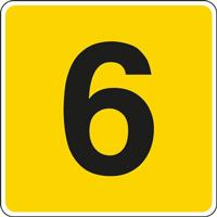 Panneau chiffre 6 jaune noir