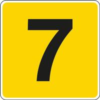 Panneau chiffre 7 jaune noir