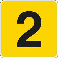 Panneau chiffre 2 jaune noir