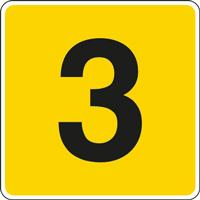Panneau chiffre 3 jaune noir