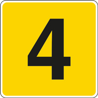 Panneau chiffre 4 jaune noir