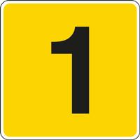 Panneau chiffre 1 jaune noir
