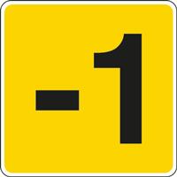 Panneau chiffre -1 jaune noir