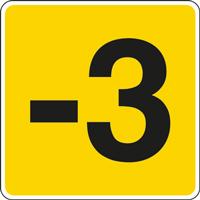 Panneau chiffre -3 jaune noir