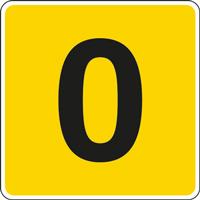 Panneau chiffre 0 jaune noir