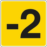 Panneau chiffre -2 jaune noir