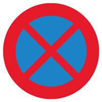 Sigle adhésif B6d interdiction de stationner et de s'arrêter