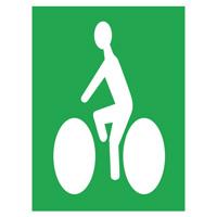 Sigle adhésif cycliste blanc sur fond vert