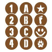 Pochoirs 40 caractères et symboles Twister