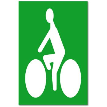 Sigle cycliste sur fond vert thermocollant