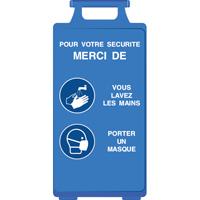 Chevalet bleu lavez-vous les mains et portez un masque