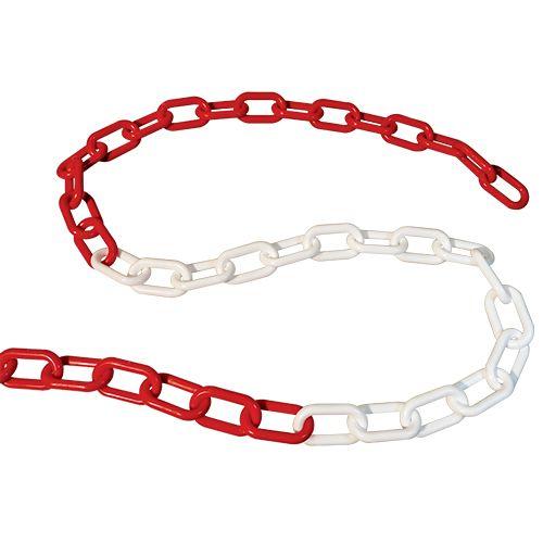 Chaîne plastique de signalisation 8 mm x 25 mètres rouge et blanc