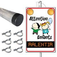Pack panneau lumineux flash 220V Attention Enfants