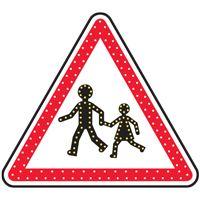 Panneau lumineux à leds danger enfants A13a