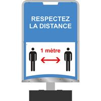 Panneau d'information respectez la distance