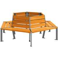 Banc tour d'arbre hexagonal