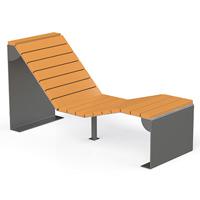 Chaise longue en bois et acier Aubans