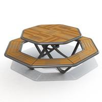 Table pique nique octogonale stratifié compact