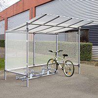 Abri aluminium pour cycles sans bardage